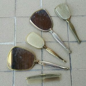 Other - 5 Pc Vintage Vanity, 2 Mirrors, 2 Brushes, &1 Comb